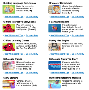 Scholastic SMART board resources