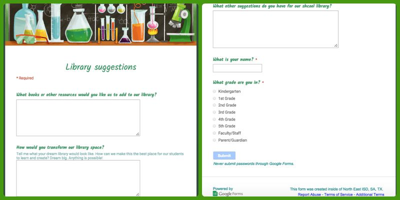 School Library Google Forms