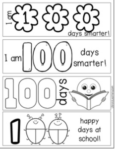 free 100th day bookmarks printable