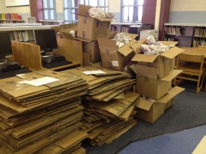 unpacked library boxes